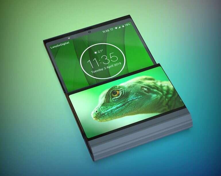 Lenovo składany smartfon, składany smartfon Lenovo, patent składany smartfon, pionowy składany smartfon