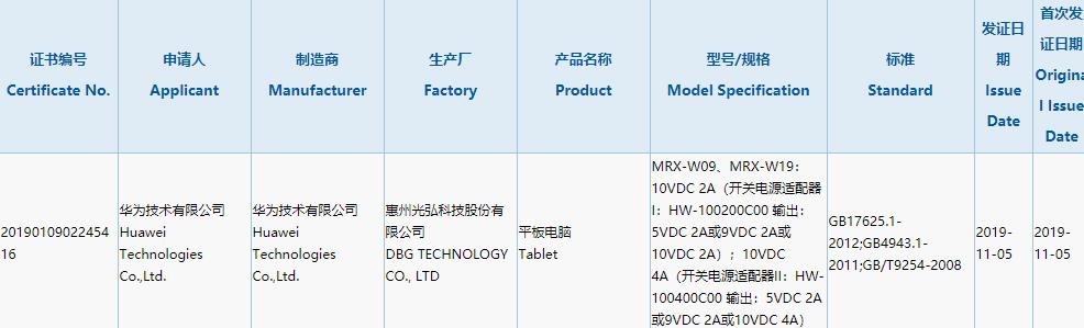 certyfikat MatePad Pro, huawei MatePad Pro, 3C huawei MatePad Pro, specyfikacja MatePad Pro