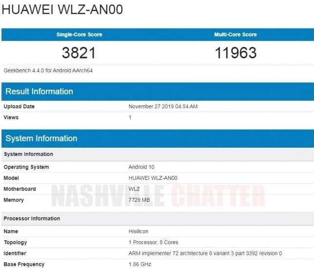benchmark Huawei Nova 6 5G, wydajność Huawei Nova 6 5G, geekbench Huawei Nova 6 5G