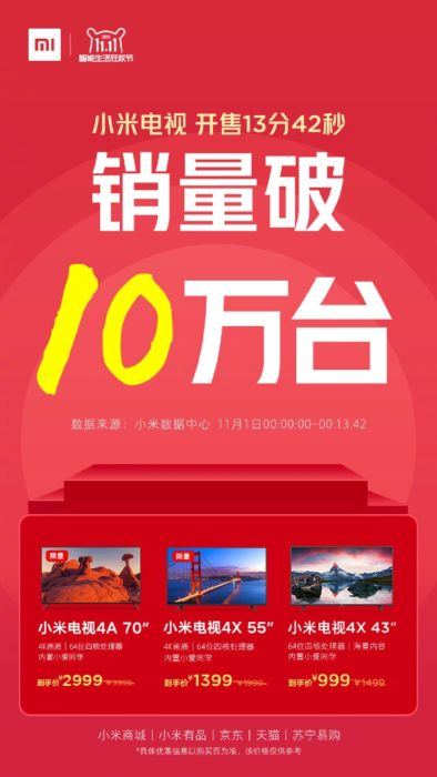 Xiaomi TV, sprzedaż Xiaomi TV, wyprzedaż Xiaomi TV, promocja Xiaomi TV,