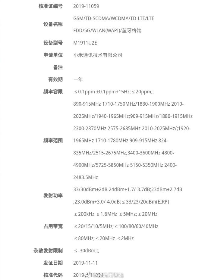 certyfikat Redmi K30 5G, NRA Redmi K30 5G, Chiny Redmi K30 5G