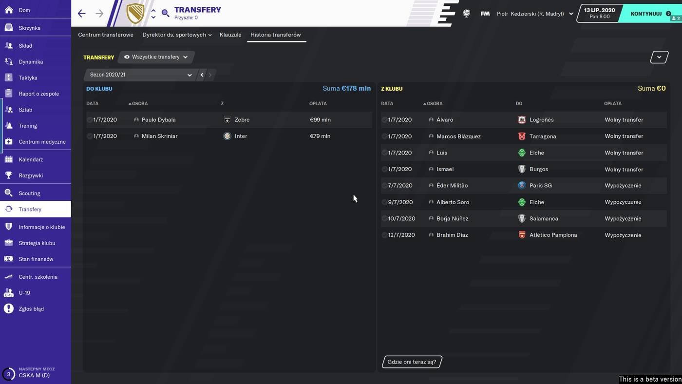 Football Manager 2020 transfery
