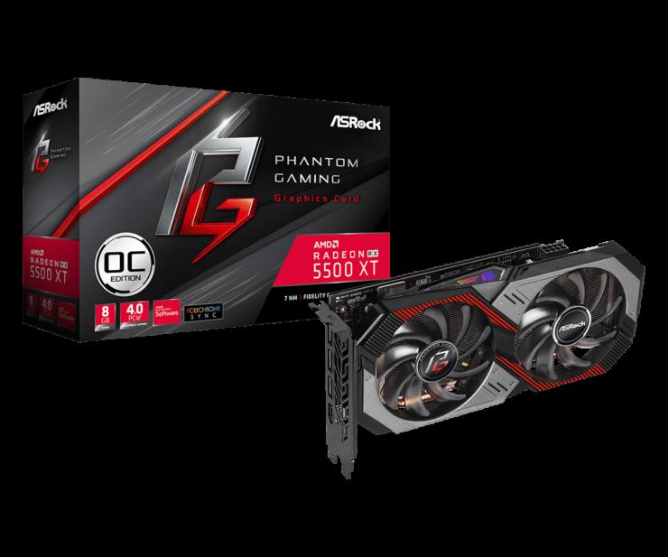 wygląd Radeon RX 5500 XT Phantom Gaming D 8G OC, design Radeon RX 5500 XT Phantom Gaming D 8G OC