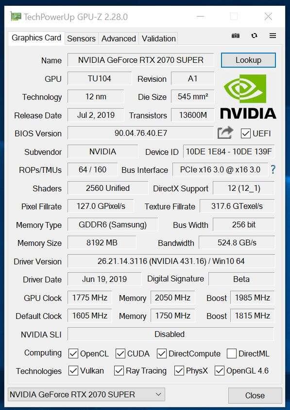 Test KFA2 GeForce RTX 2070 SUPER Work The Frames