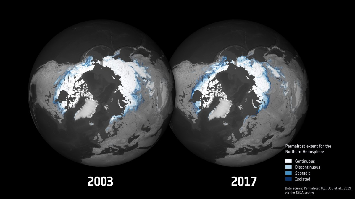 Ta mapa pokazuje skalę topnienia wiecznej zmarzliny na przestrzeni lat