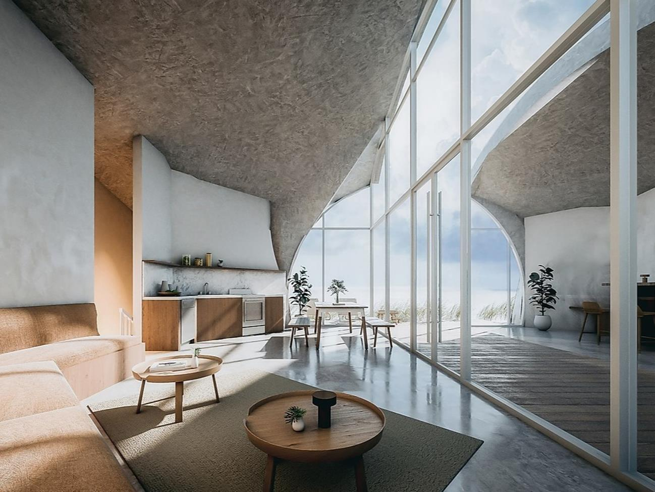Dune House, ciekawy dom, projekt plażowego domu, dom na plaży