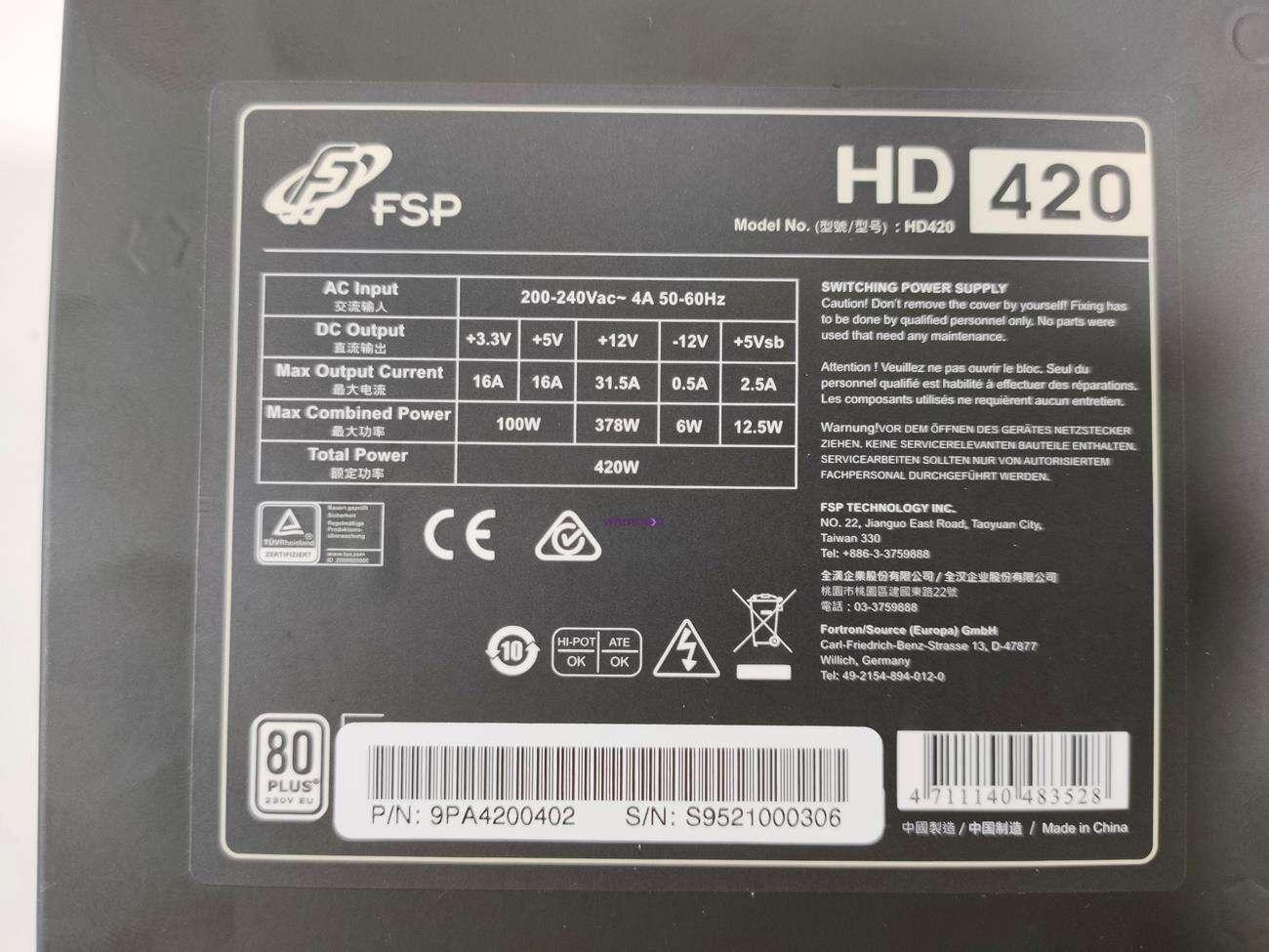 test FSP HD 420W, recenzja FSP HD 420W, review FSP HD 420W, opinia FSP HD 420W, cena FSP HD 420W