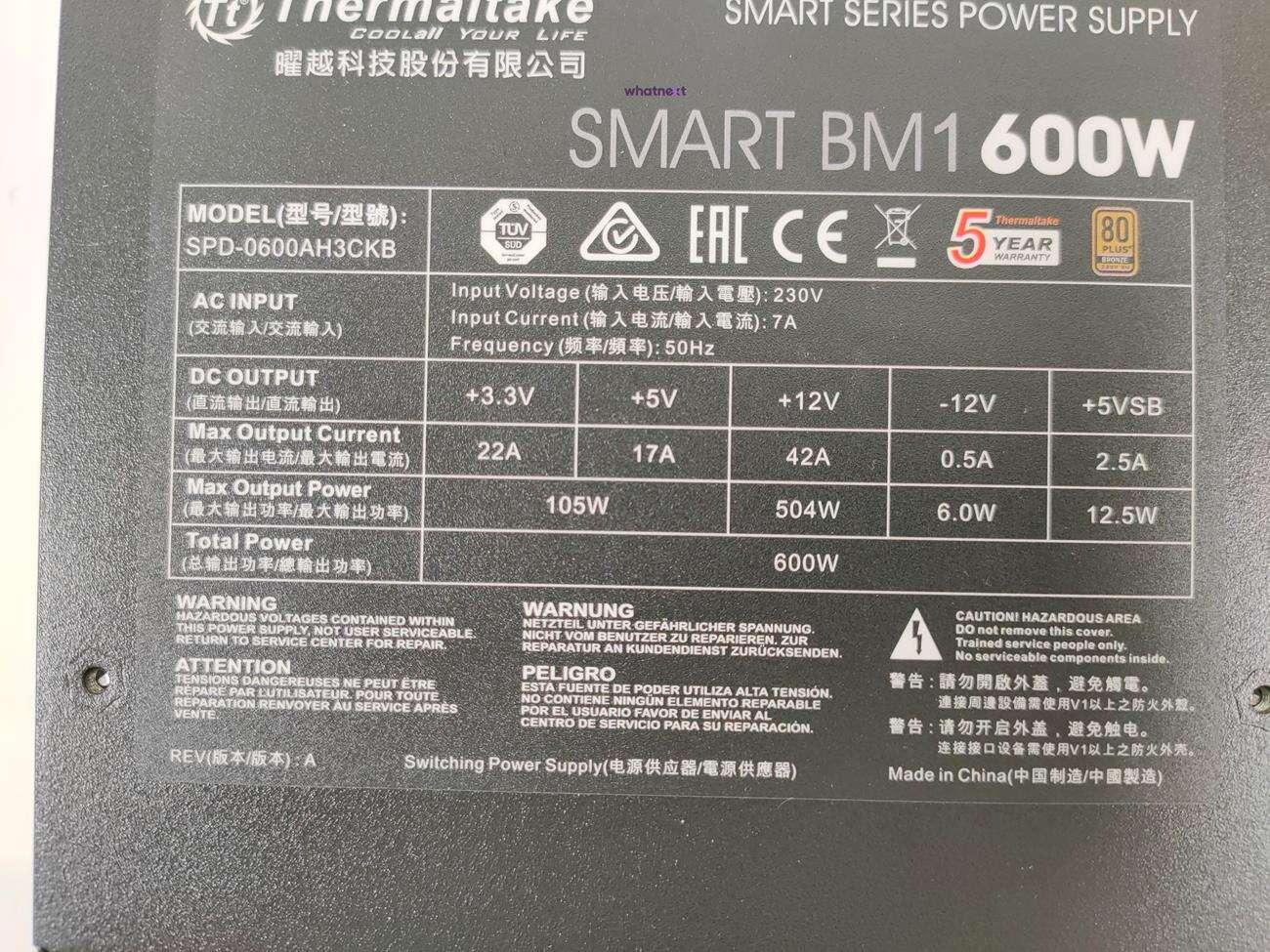 test Thermaltake Smart BM1 600W, recenzja Thermaltake Smart BM1 600W, review Thermaltake Smart BM1 600W, opinia Thermaltake Smart BM1 600W, cena Thermaltake Smart BM1 600W