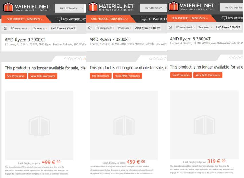 ceny AMD Ryzen 9 3900XT, 7 3700XT i 5 3600XT