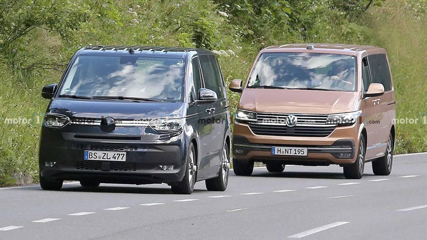 Nowy VW Transporter T7 uchwycony w testach ze starą wersją
