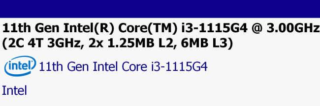 sisoftware Intel Core i3-1115G4