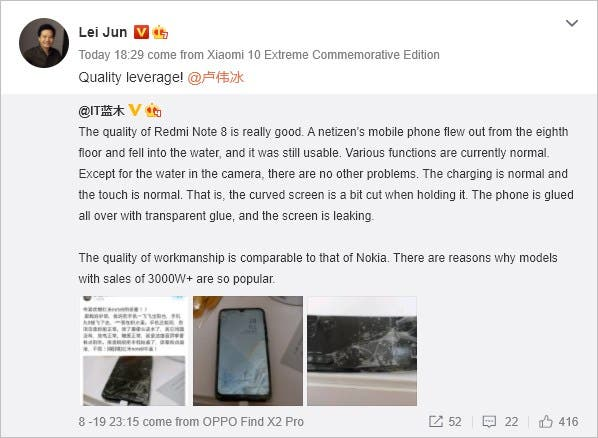 Redmi Note 8, upadek Redmi Note 8