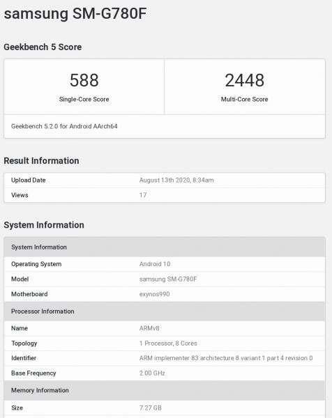 Samsung Galaxy S20 Fan Edition specyfikacja