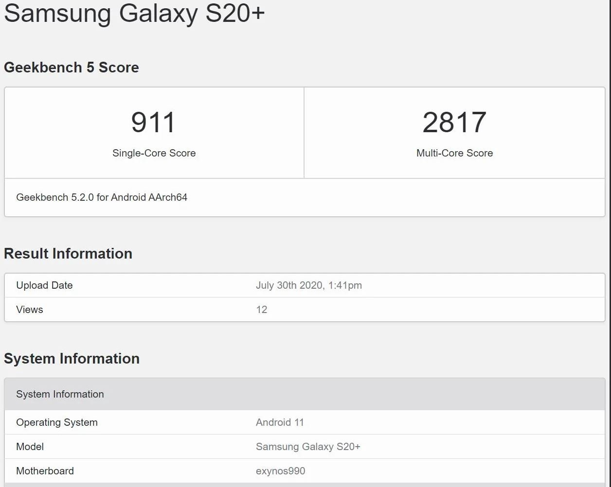 Samsung Galaxy S20+, android 11