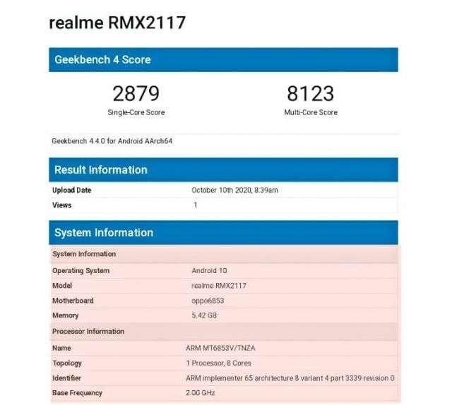 geekbench Realme Q2