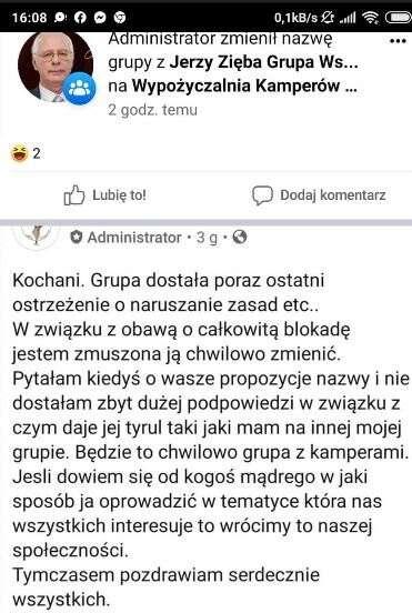 Tak zwolennicy Jerzego Zięby obchodzą działania Facebooka