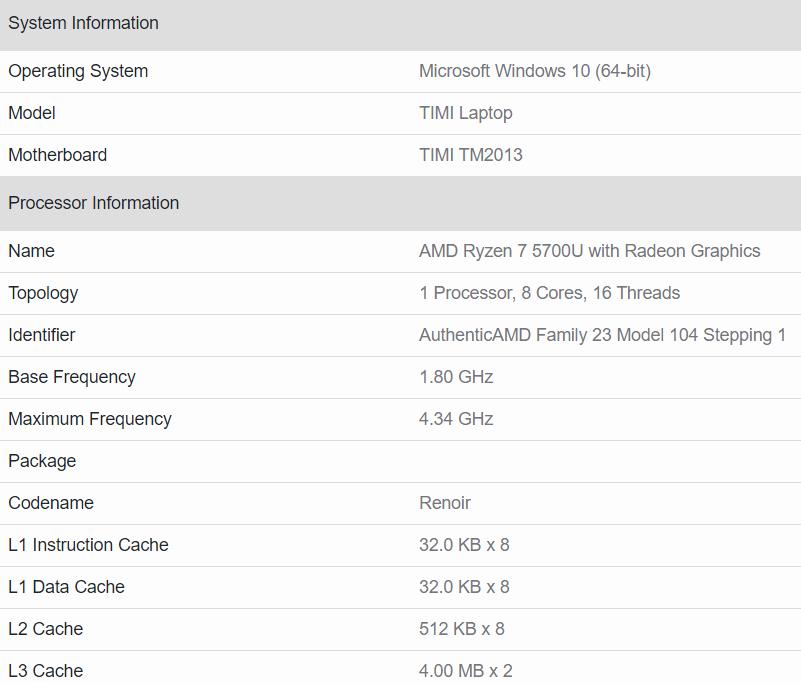 geekbench AMD Ryzen 7 5700U i 5 5500U