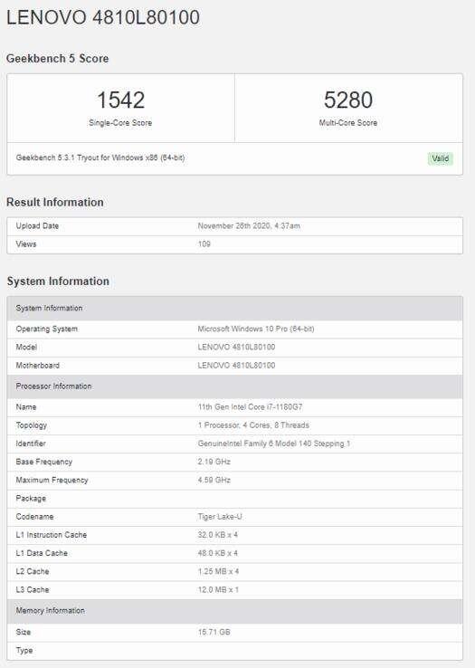 geekbench Intel Core i7-1180G7