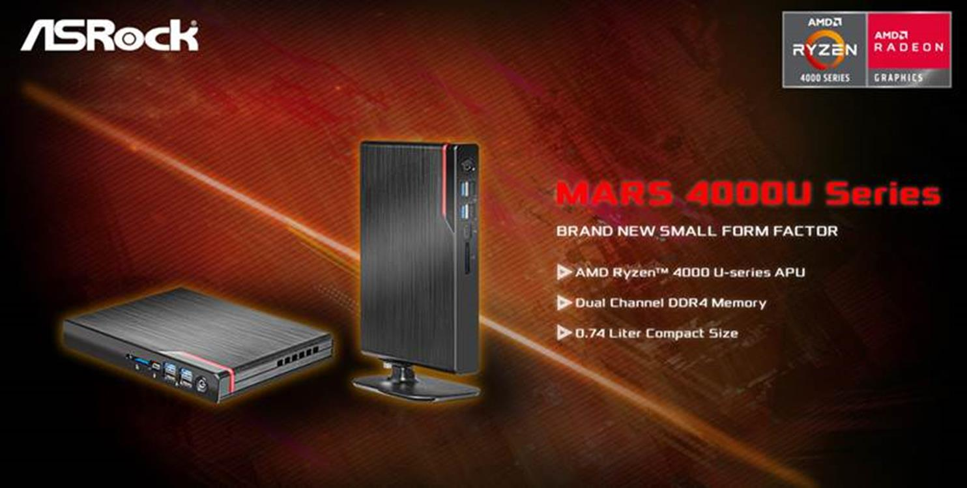 Miniaturowe komputery ASRock Mars 4000U z procesorami AMD