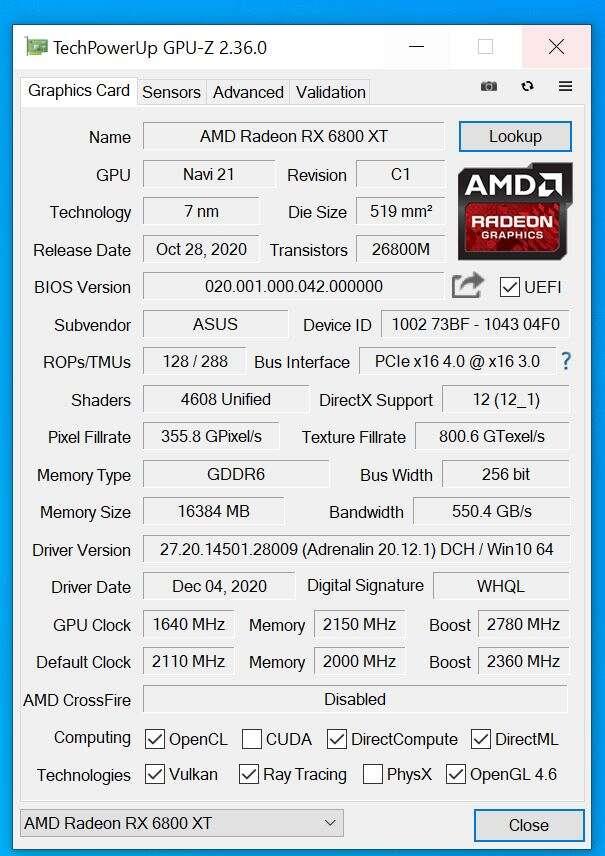 Test Asus Radeon RX 6800 XT ROG Strix LC OC