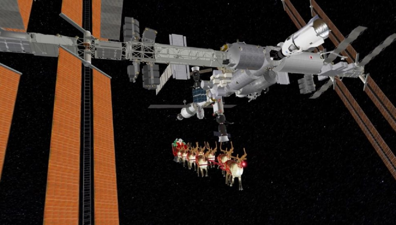"""Święty Mikołaj """"poleciał"""" na ISS. Zobaczcie, jak wyglądała jego podróż"""