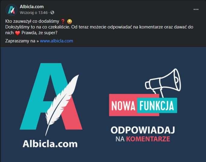 Albicla - polska społecznościówka umożliwi odpowiadanie na komentarze i nie tylko