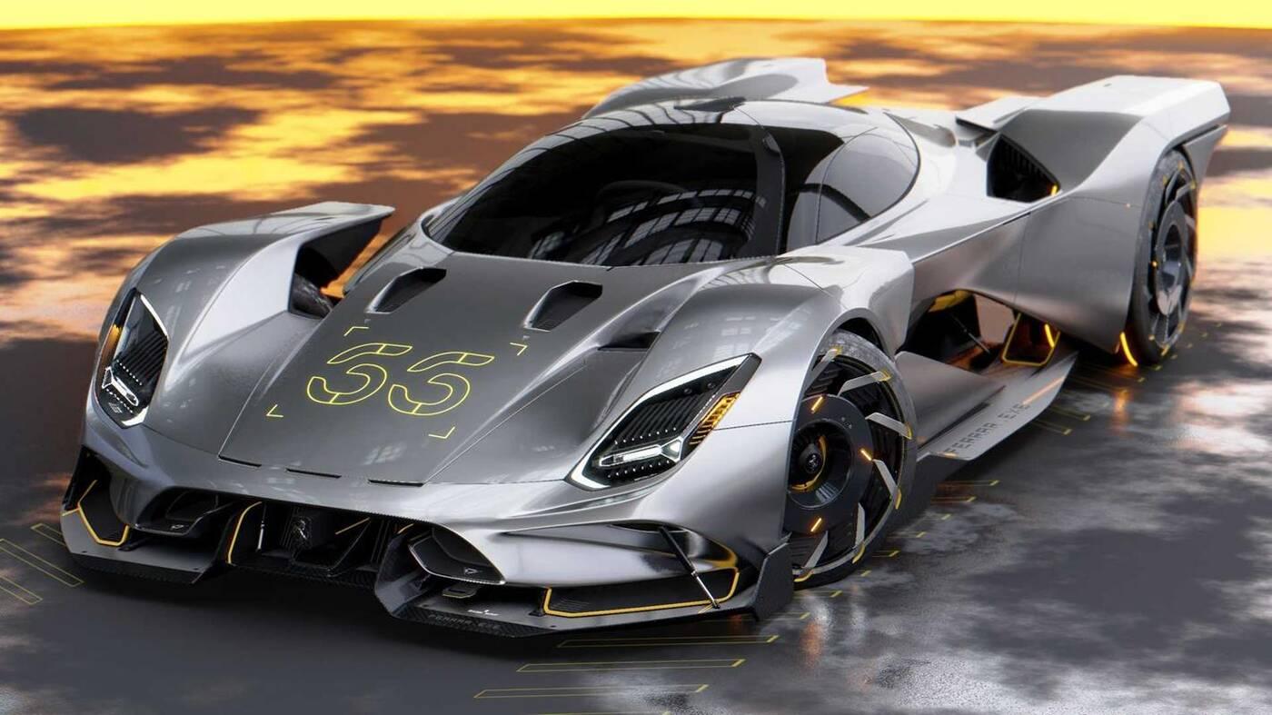 Futurystyczny hipersamochód Ferrari, hipersamochód Ferrari, Futurystyczny hipersamochód Ferrari Cyberpunk 2077