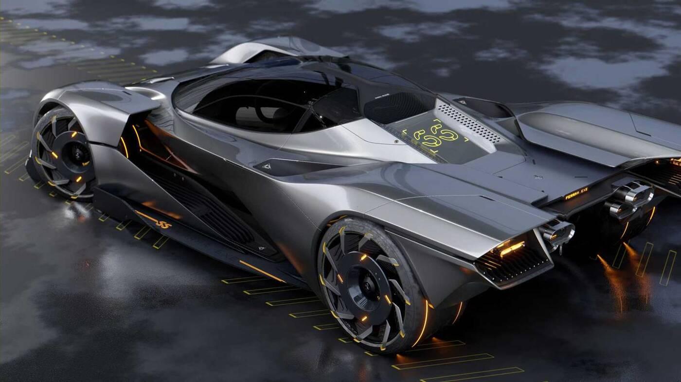 Futurystyczny hipersamochód Ferrari godny Cyberpunka