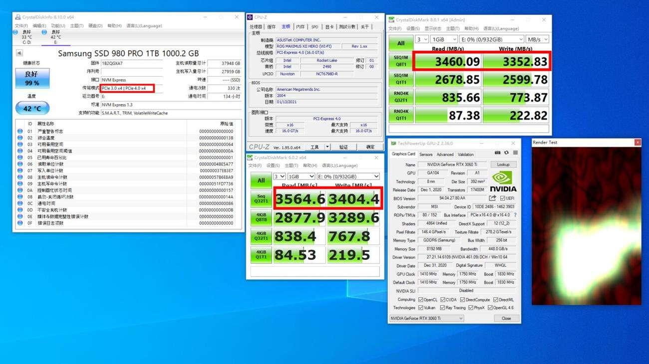 asus z490 PCI-E gen4 x4