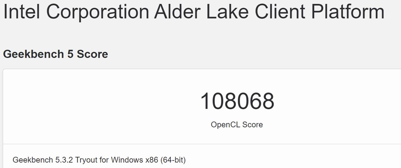 geekbench Intel Alder Lake-S