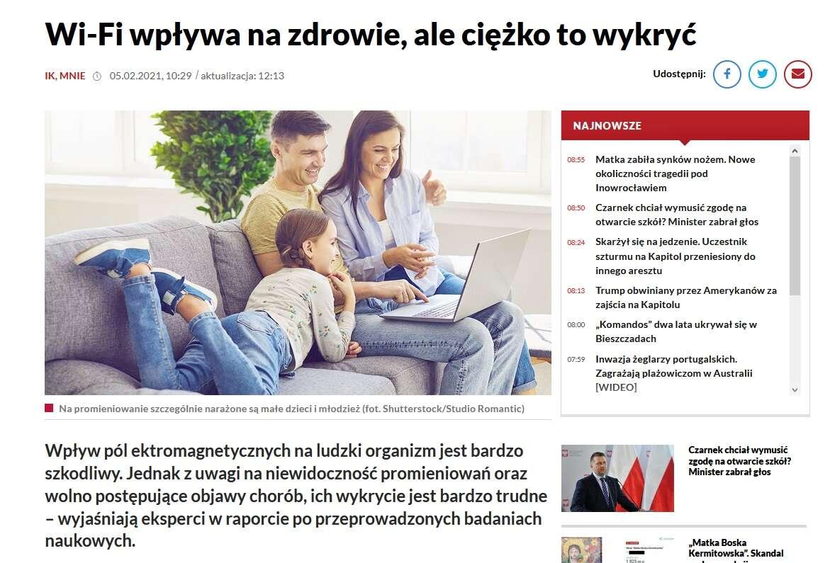 [Aktualizacja] TVP Info straszy siecią Wi-Fi. Foliarstwo w pełnej krasie