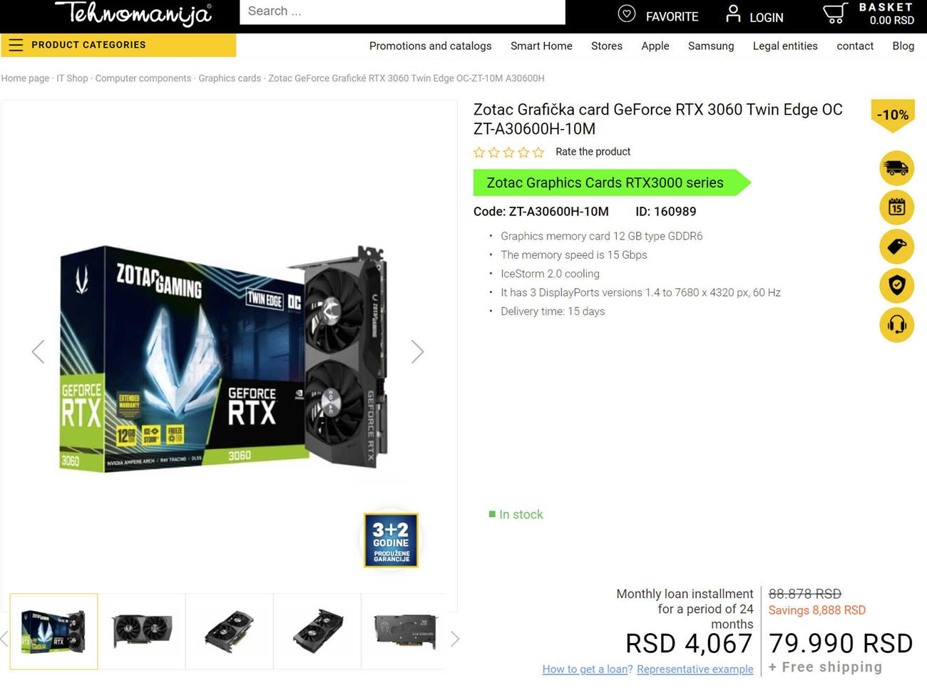 cena ZOTAC GeForce RTX 3060