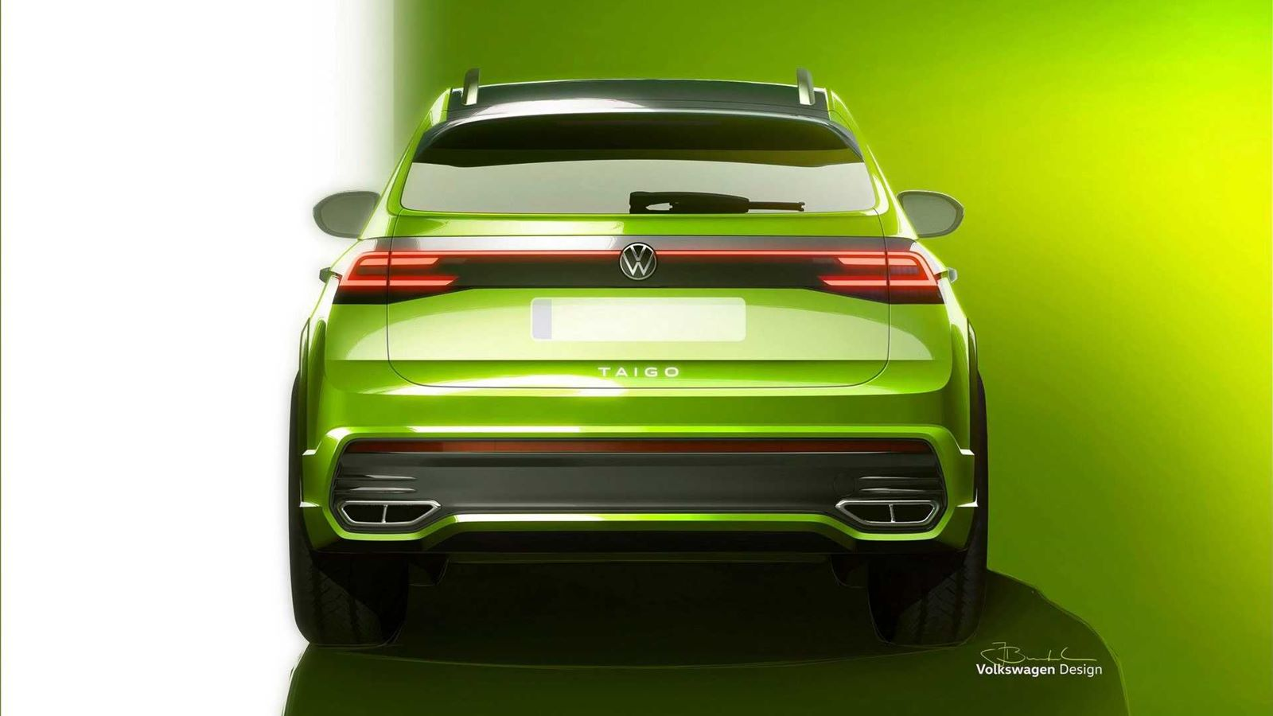 Oto Volkswagen Taigo, przebijający się przez ogłoszenie Voltswagen w USA