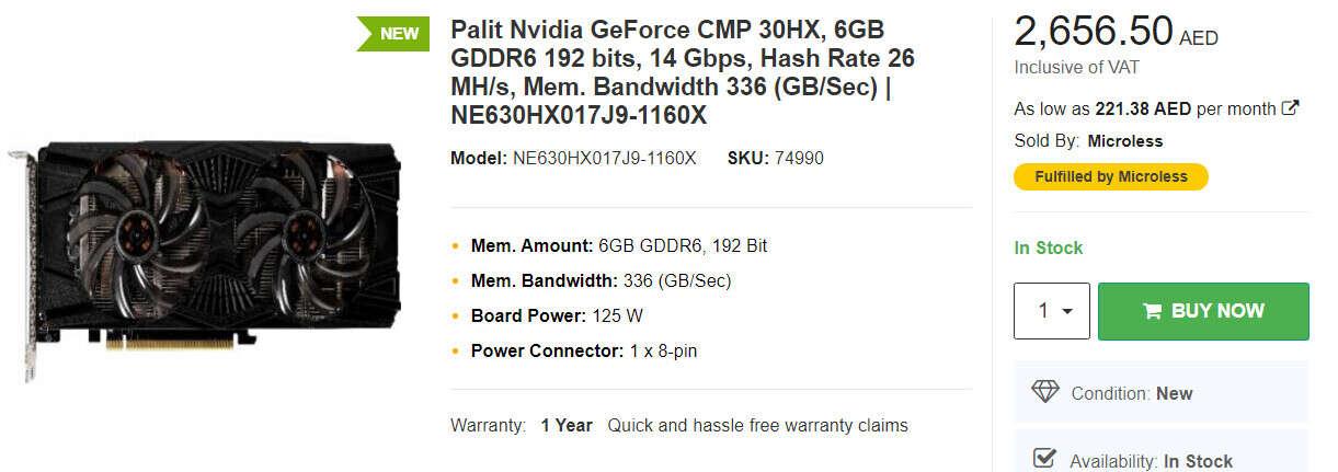 cena Palit CMP 30 HX