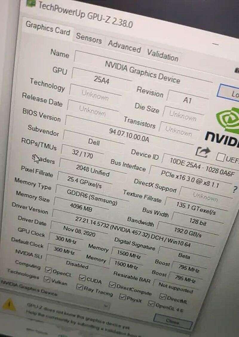Specyfikacja GeForce RTX 3050 w wersji mobilnej wyciekła