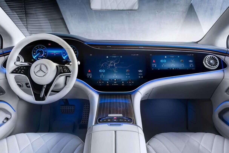 kabina Mercedes EQS bez Hypersceen, Mercedes EQS bez Hypersceen, kabina Mercedes EQS