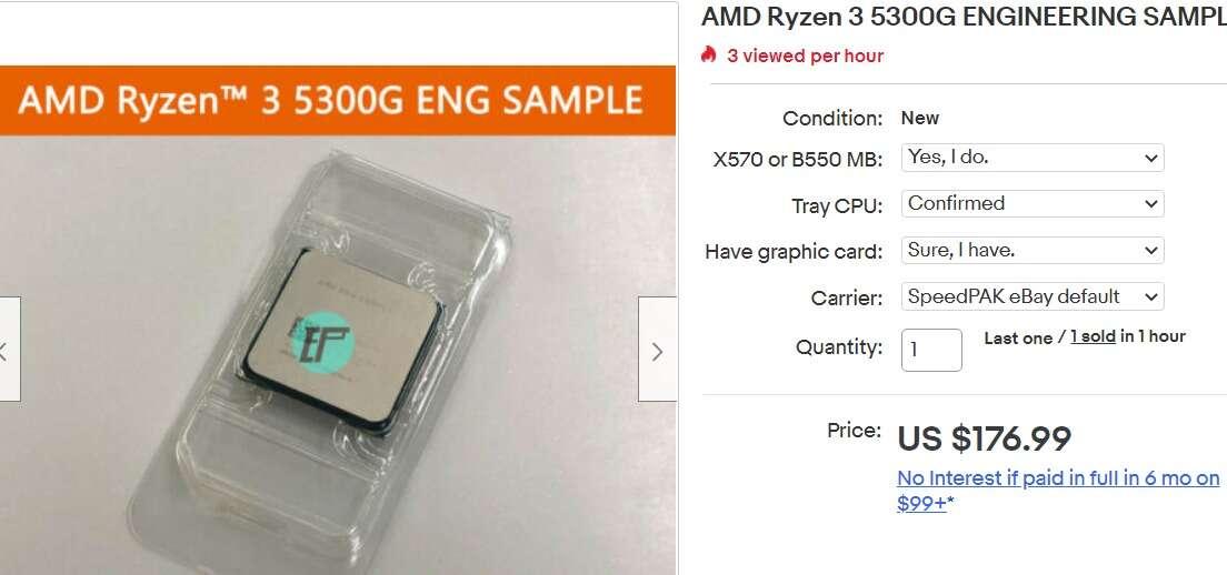AMD Ryzen 3 5300G ebay