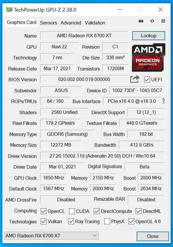 Test Asus Radeon RX 6700 XT ROG Strix OC