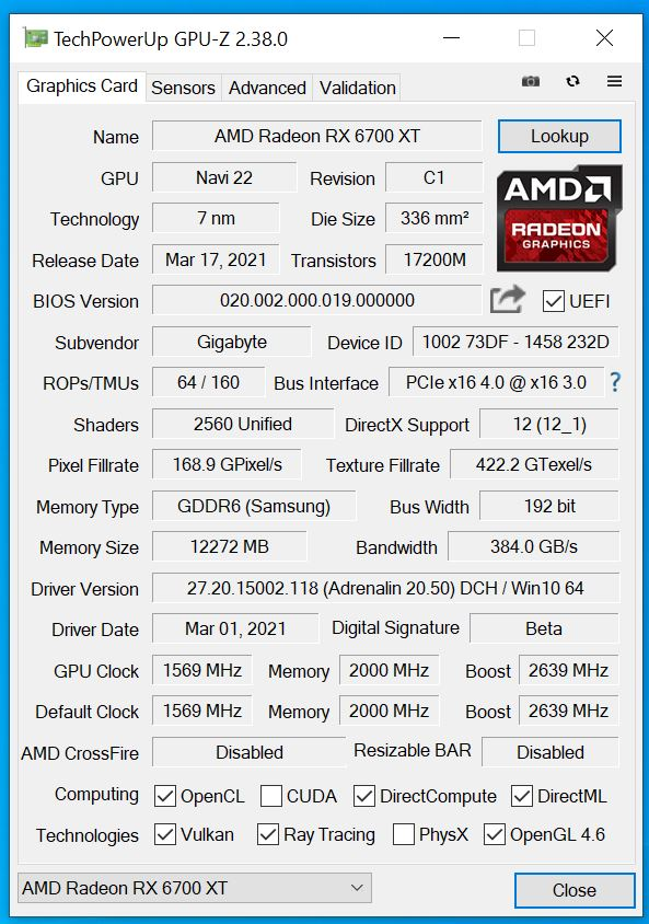 Test Gigabyte Radeon RX 6700 XT Gaming OC 12G