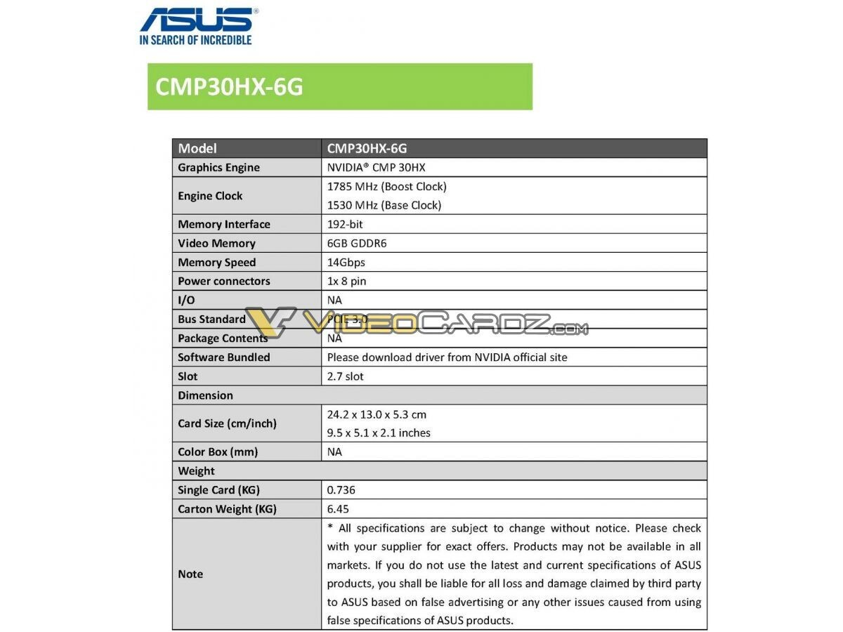 Asus CMP 30HX ma podświetlenie ARGB