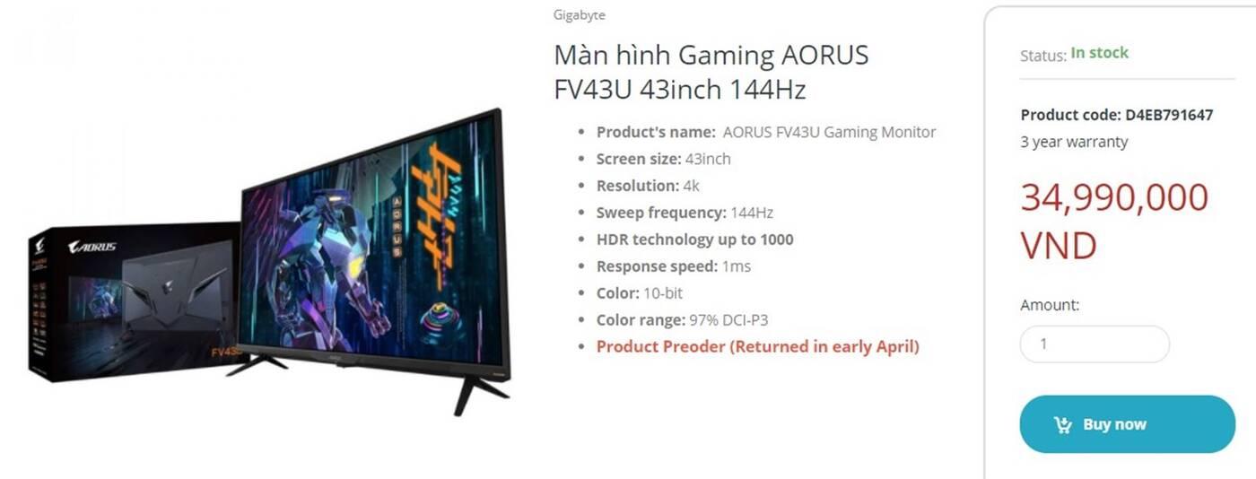 Oto 43-calowy gamingowy monitor AORUS FV43U od Gigabyte