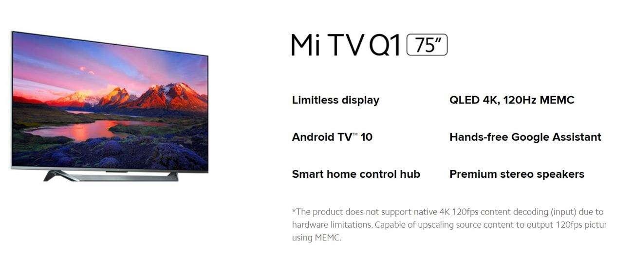 specyfikacja Xiaomi Mi Q1 TV
