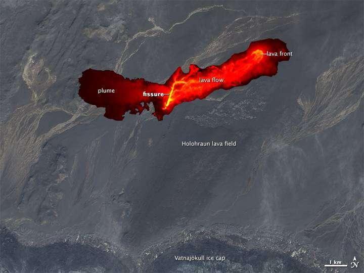 Satelitarne zdjęcie erupcji wulkanu na Islandii