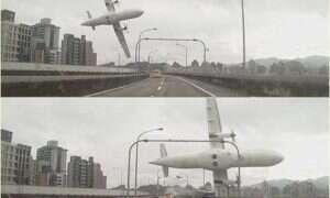 W Tajwanie rozbił się samolot, kierowca samochodu wszystko sfilmował