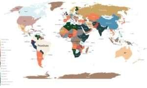 Mapy pokazujące najczęstsze wyszukiwania Google w krajach na świecie