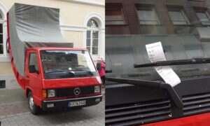 Kretyn z niemieckiej drogówki wystawia mandat za złe parkowanie… instalacji artystycznej