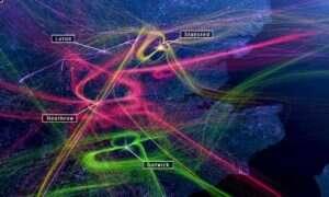 Hipnotyzująca animacja dziennego ruchu lotniczego nad Londynem