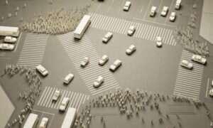 Najruchliwsze skrzyżowanie w Japonii odwzorowane za pomocą papierowych ludzików