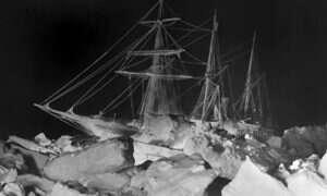 Zdjęcie biblioteki Shackletona z czasów jego wypraw na Antarktydę