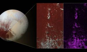 """Metanowy """"śnieg"""" na górskich szczytach Plutona"""